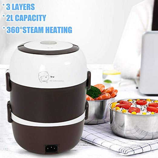 3Layers 2L Portable Electric Lunch Box Stainless Steel 360°Steam Heating US SHIP