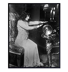 Gothic Home Decor - Goth Wall Art - Vintage Hollywood Poster - 8x10 Creepy Crystal Ball Fortune Teller Psychic Photo - Gift for Wicca, Wiccan, Occult, Horror Movies Fans - UNFRAMED Picture