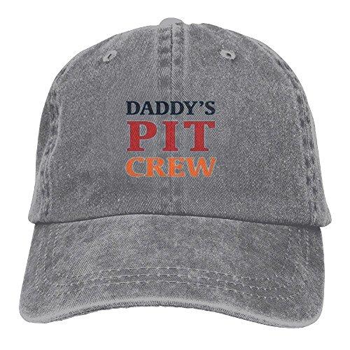 Pit Crew Cap (CaiGuiShi Daddy's Pit Crew Adjustable Washed Cap Cowboy Baseball Hat Ash)