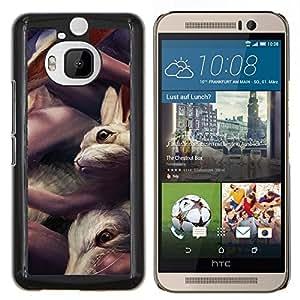 Qstar Arte & diseño plástico duro Fundas Cover Cubre Hard Case Cover para HTC One M9Plus M9+ M9 Plus (Conejos lindos)