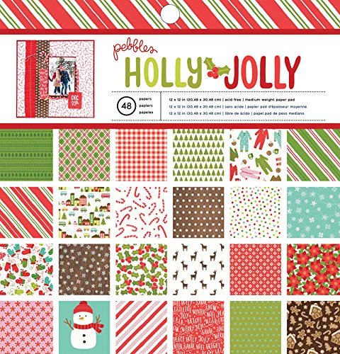 American Crafts Pebbles Holly Jolly 12 x 12 Inch 48 Sheet Paper Pad