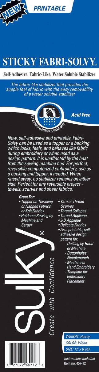 Sulky Sticky Fabri-Solvy Stabilizer 8.5X11 12/Pkg 457-02