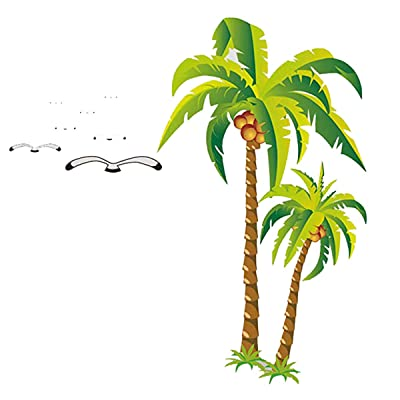 YIHOPAINTI DIY Removable Wall Decal Stickers Love Palm Tree Wall Stickers for Kids Room Living Room Office Bathroom Kitchen Bedroom Home Decor (Coconut Tree 23x35in): Home & Kitchen