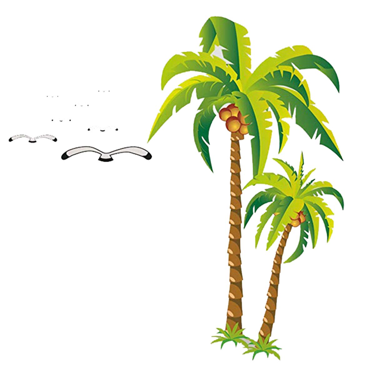 YIHOPAINTI DIY Removable Wall Decal Stickers Love Palm Tree Wall Stickers for Kids Room Living Room Office Bathroom Kitchen Bedroom Home Decor (coconut tree 2335'')