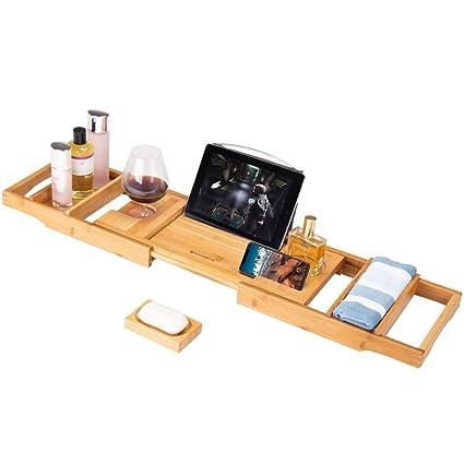 Amazon.com: Frond Bamboo Bathtub Caddy Tray, Luxury Wood Bath Rack ...