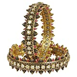 MUCHMORE Fantastic Style Kundan & Ruby Gold Tone Diamond Swarovski Elements Indian Bangles Traditional Jewelry (2.6)