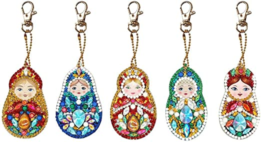 5pcs DIY Full Drill Special Shaped Diamond Painting Car Keychains Pendant Gifts