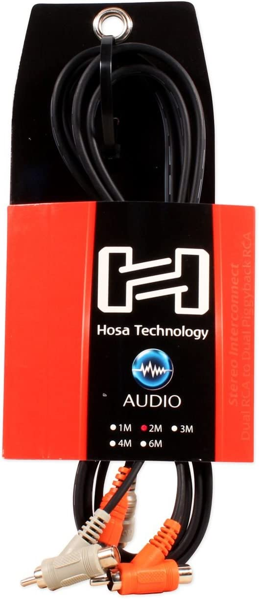 Hosa CRA-202PB Dual RCA to Dual RCA Piggy Back 6 Foot Cable Professional Wire