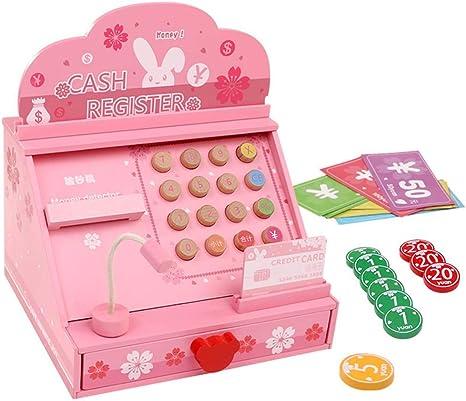 QIDUll Caja registradora de Madera para niños, Incl. Escáner ...