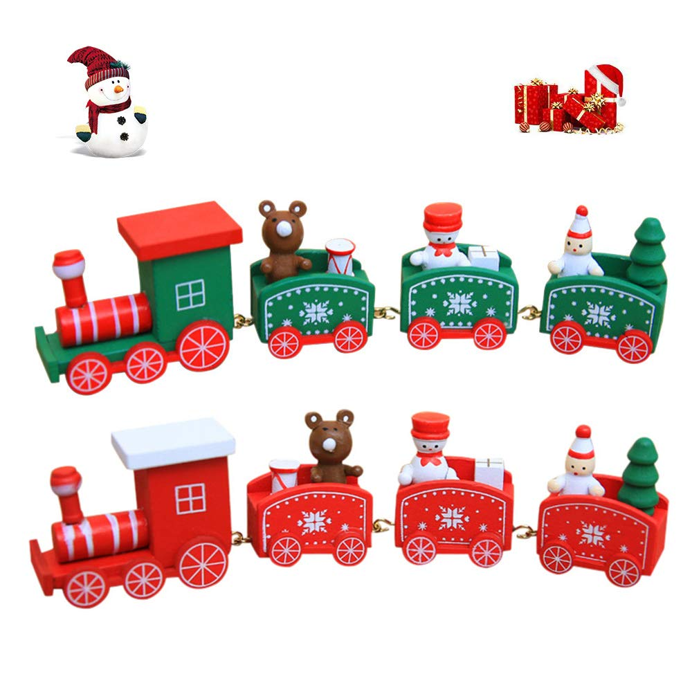 JAYSLE 2Pcs Christmas Wooden Train Kids Toys Birthday New Year Xmas Décor Festival Ornament Gift by JAYSLE (Image #1)