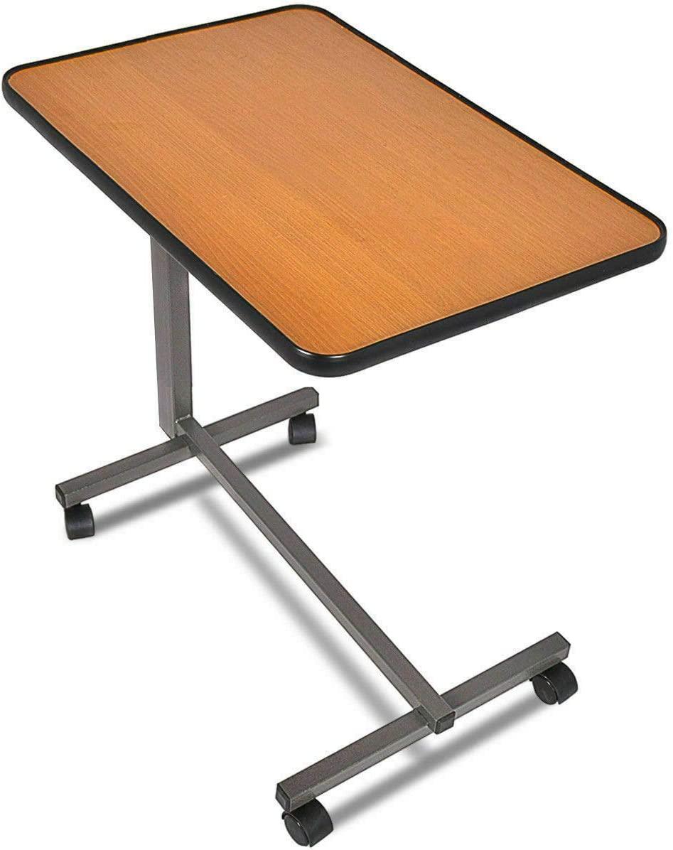 Shipping from USA, Overbed Rolling Table Over Bed Laptop Food Tray Hospital Desk with Tilting Top