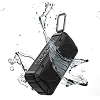 APIE Portable Wireless Outdoor Bluetooth Speaker IPX6 Waterproof Dual 10W Drivers, Enhanced Bass, Built in Mic, Water Resistant, Beach, Shower & Home (Black) (Black)