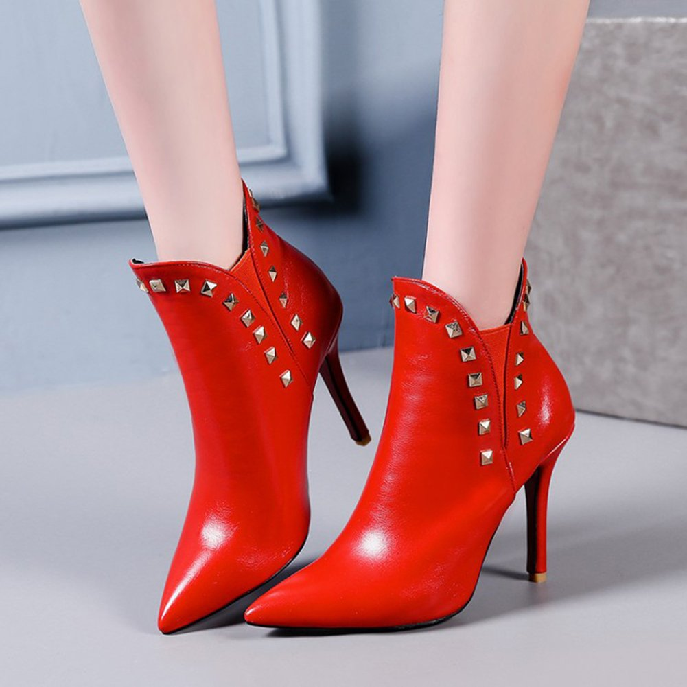 Aisun Damen Sexy Kunstleder Spitz Spitz Spitz Zehe Niete Stiletto High Heels Kurzschaft Chelsea Stiefel Rot 65c654