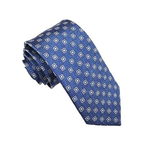 Corbata Cuadrada Azul Estrecha de los Hombres 100% de Seda ...