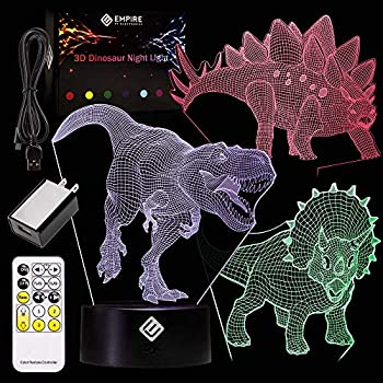 Kids 3D Dinosaur Night Light Illusion - Uses 3 Different Acrylic Dinosaur Panels and 7 Unique Colors - Remote Control-Operated to Change Color, Patterns & Speeds, Battery-Operated - Kids Night Light