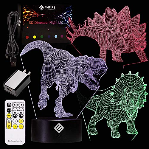Kids 3D Dinosaur Night Light - Uses 3 Different Acrylic Dinosaur Panels and 7 Unique Colors - Remote Control-Operated To Change Color, Patterns & Speeds, Battery-Operated - Kids Night Light