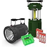 EdisonBright 2 Pack Nebo Poppy 6555 (Black/Green) Combination LED 300 Lumen Lantern and 120 Lumen Spot Light w battery case
