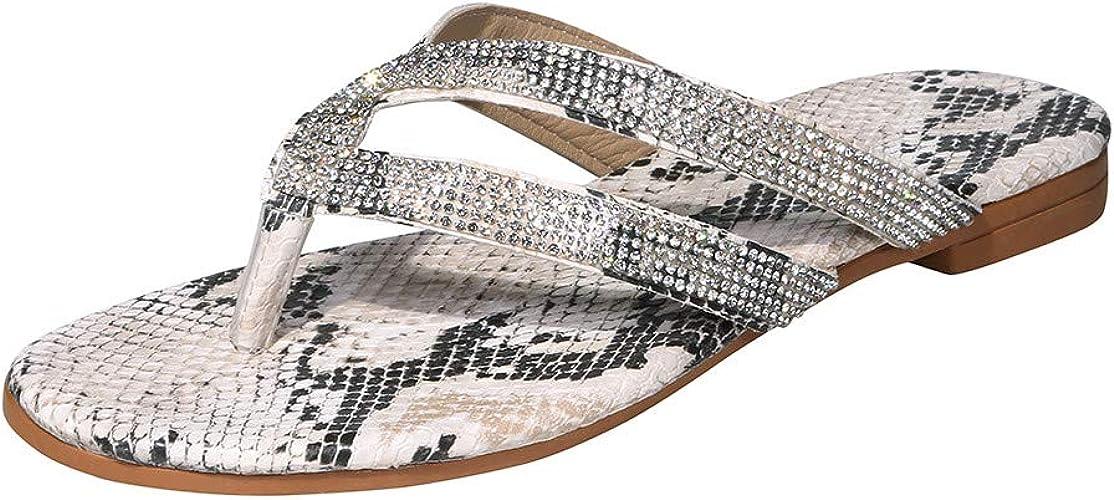 Damen Flip Flops Sommer Flache Sandalen Crystal Zehentrenner Beach Große Größen Casual Slippers Strass Clip Zehen Hausschuhe Schuhe Handtaschen