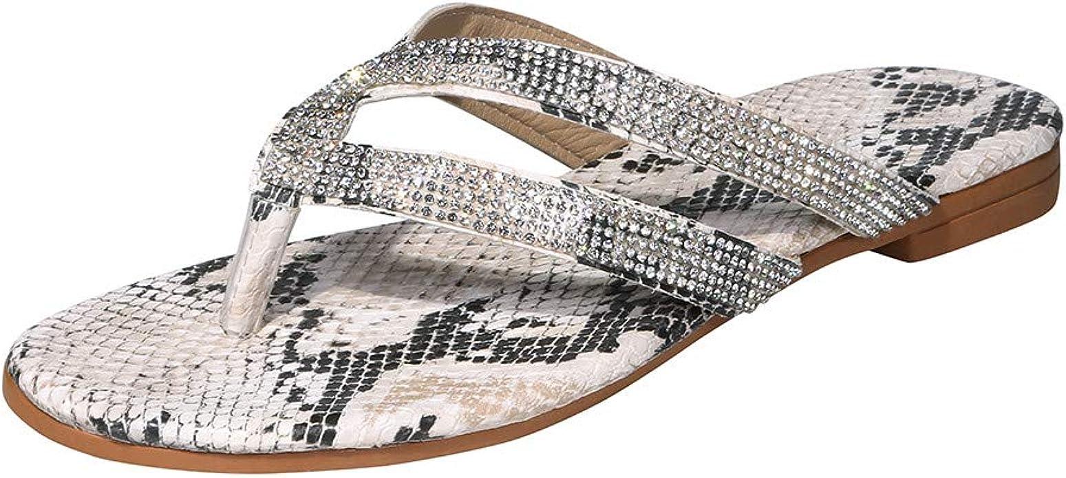 m/·kvfa Women Crystal Sandals Wedges Shoes Female Open Toe Flip Flops Beach Slippers