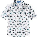 SSLR Big Boy's Shark Prints Casual Button Down Short Sleeve Shirts (Medium (10-12), White)
