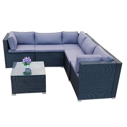 Hengda® Muebles de Jardín Mesa de Café Conjunto Terraza mimbre ...