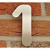 Nanook Numéro de porte 1 acier inox brossé - 15 cm - résistant aux intempéries - Installation facile