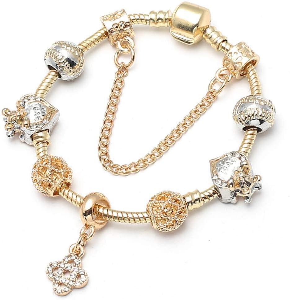 Delicate girl-shouzhuo Resplandeciente De Moda Colgante Trébol De Oro Wome Charm Bracelet Cristal Perlas De Vidrio De Murano Pulsera Joyería De Marca
