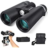FREEDEER 10x42 Binoculars for Adults, Low Light Night Vision Compact HD Telescope for Bird Watching Travel Stargazing Hunting Concerts Sports, BAK4 Prism FMC Lens with Phone Mount Strap Carrying Bag