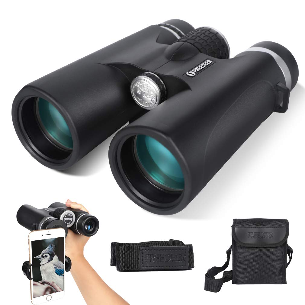 FREEDEER 8X42 HD Binoculars for Adults with Low Light Night Vision, Compact Professional Binoculars for Bird Watching Travel Stargazing Hunting Concerts Sports, BAK4 Prism FMC Lens with Phone Mount