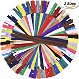 zippers for sewing bulk - Shappy 9 Inch and 12 Inch Zippers Sewing 25 Colors Nylon Coil Colorful Zippers Bulk for Sewing Crafts, 100 Pieces