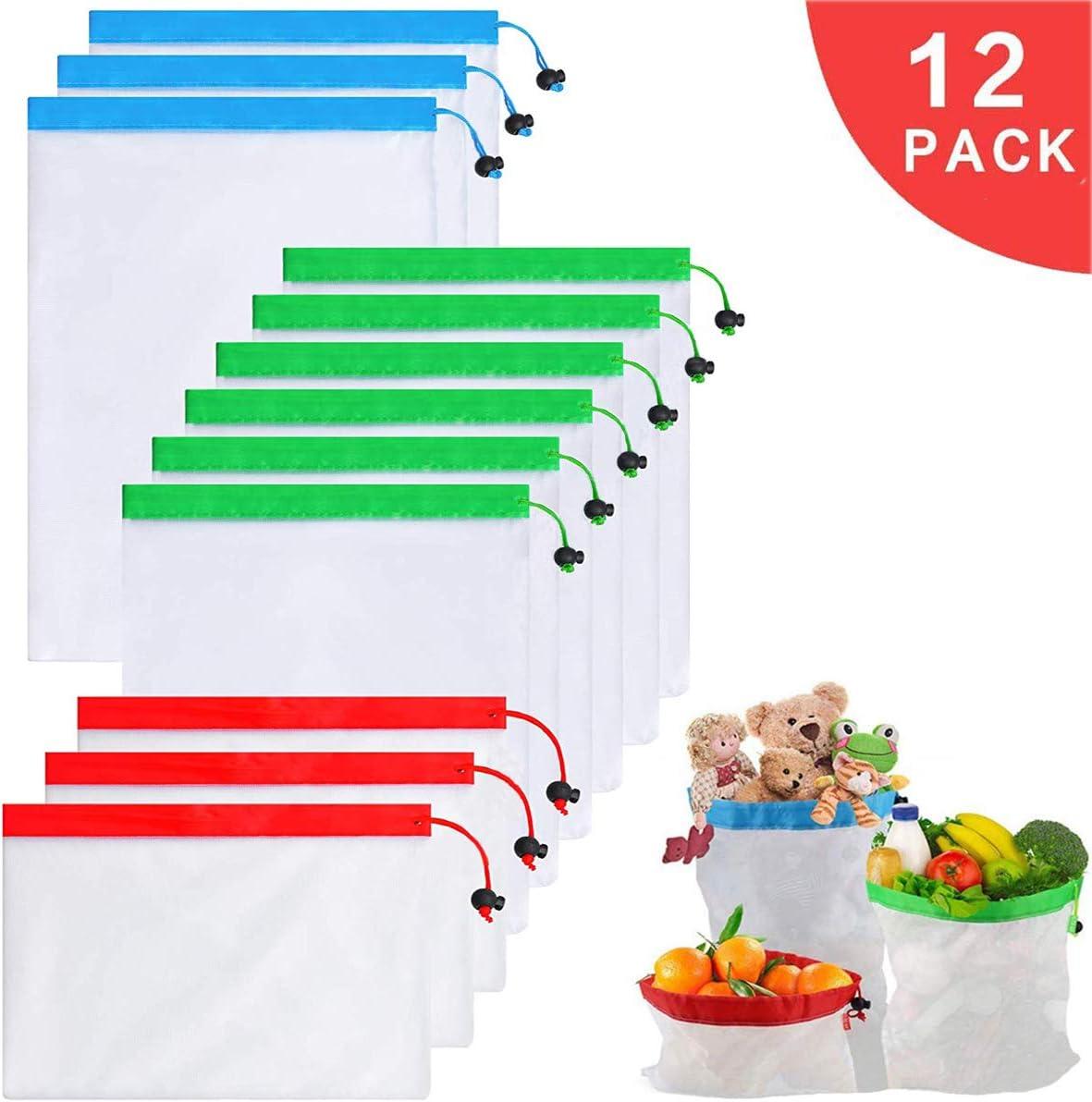 giocattoli,alimentari e supermercati,3 formati 8x12 pollici,14x12 pollici,17x12 pollici Borse riutilizzabili per la produzione di maglie,borse in rete ecologiche lavabili 12PCS per frutta,verdura