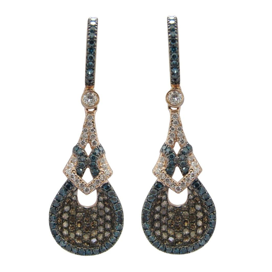 Brand New 1.62 Carat Round Blue Color Diamond, Natural Brown & White Diamond Drop Earring , 14k Rose Gold