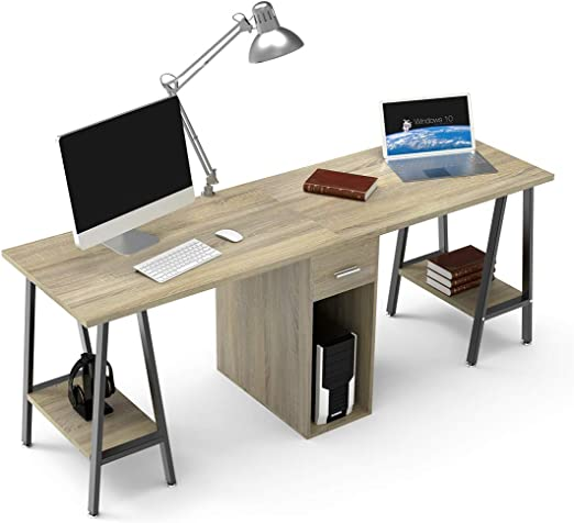 Dewel Two Person Computer Desk With Drawers 78 Extra Large Long Computer Desk Double Workstation Computer Desks With Storage Wood Big Dual Computer