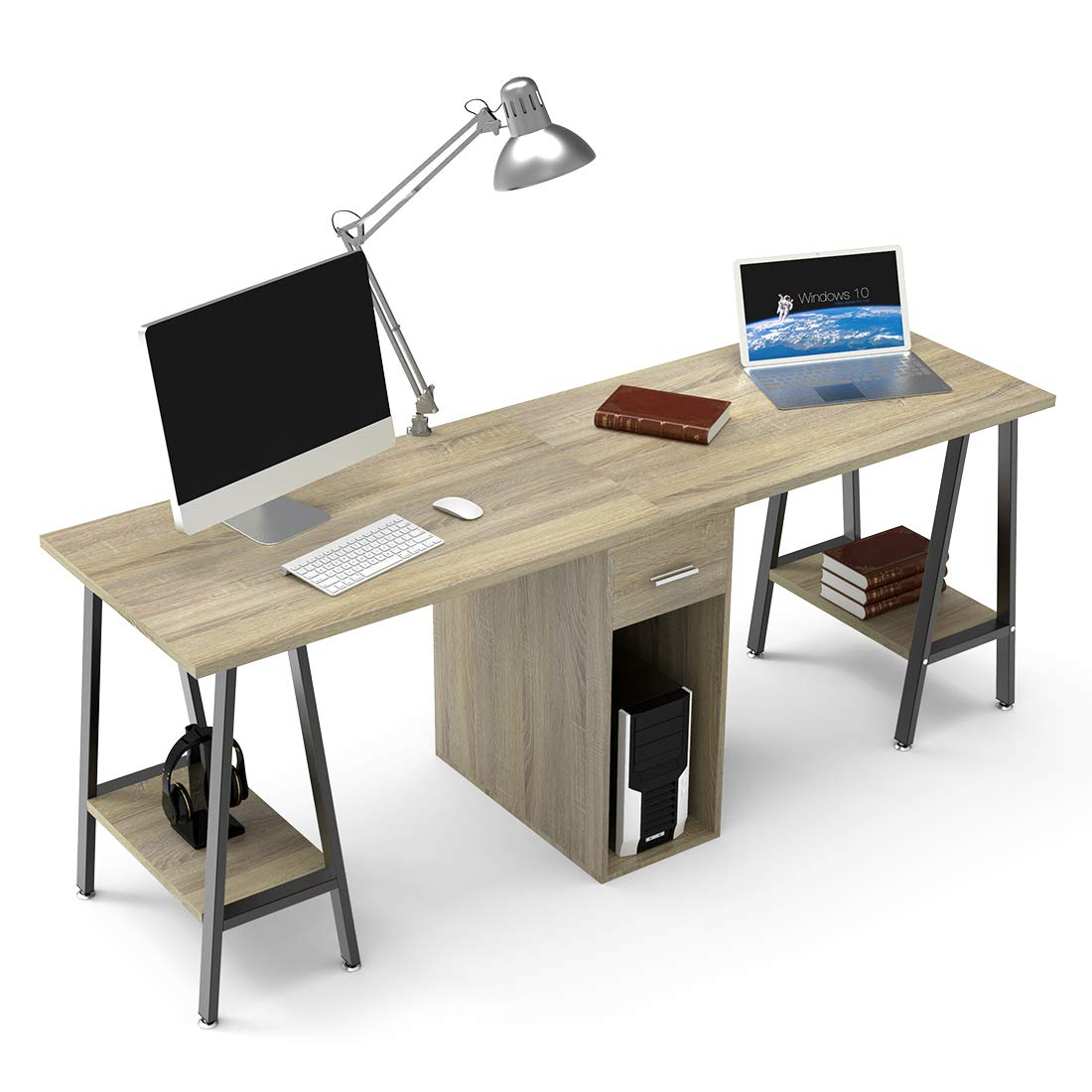 DEWEL Two Person Computer Desk with Drawers 78'' Extra Large Long Computer Desk Double Workstation Computer desks with Storage Wood Big Dual Computer Desk Executive Office Desk by DEWEL