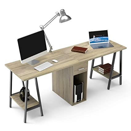 amazon com dewel two person computer desk with drawers 78 extra rh amazon com two computer table computer two desktops