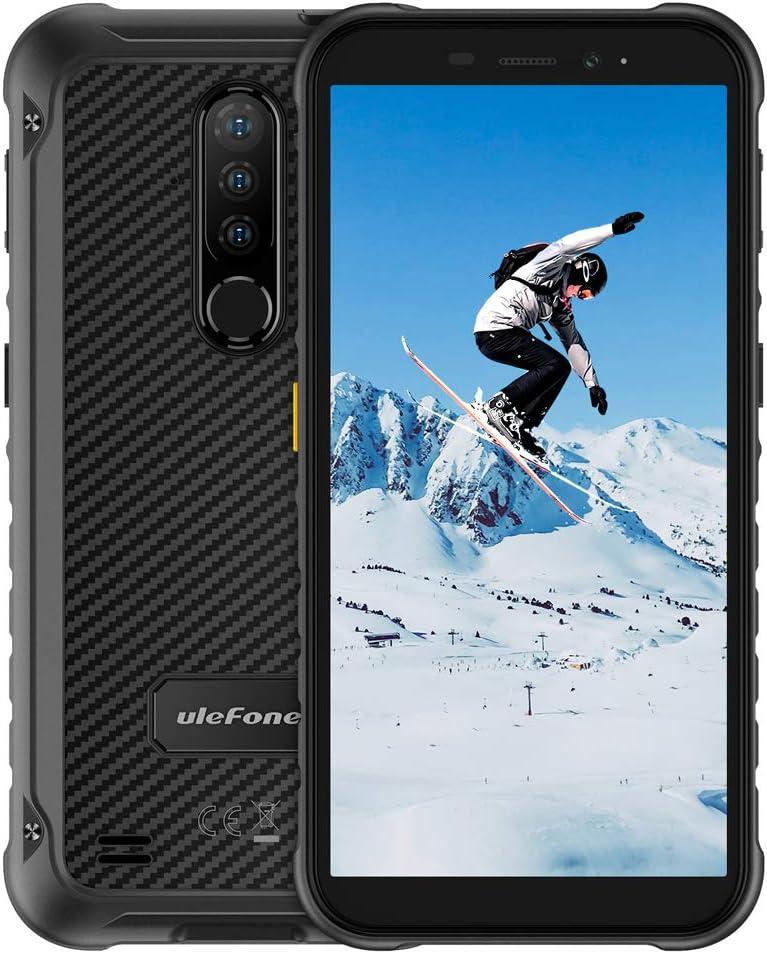 Ulefone Armor X8 Móvil Libre Resistente, Android 10.0 Irrompibles 4G, 5.7 ''HD+, 64GB ROM+4GB RAM, Batería de 5080mAh, Cámara 13MP + 8MP, Doble SIM FM Desbloqueo Facial/NFC, Negro