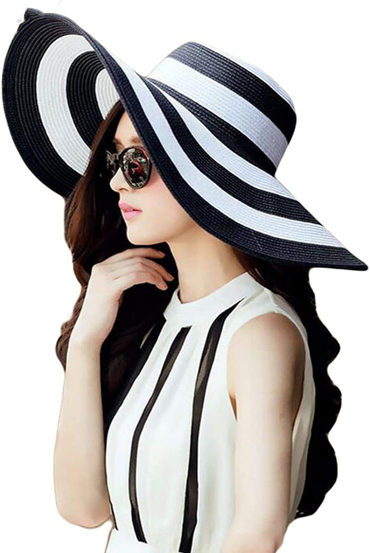 2019 Womens Straw Panama Sun Hat Black Striped Overflowed Floppy Fashion Hat