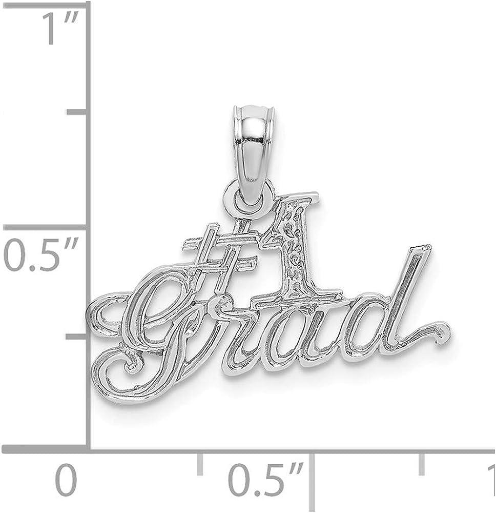 14k White Gold #1 Grad Pendant