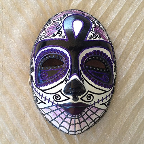 Venetian skull mask, Day of the Dead, dia de los Muertos, Costume Mask, masquerade ball, skull mask, sugar skull, full face mask, Dead Purple Black Day Venetian Mask