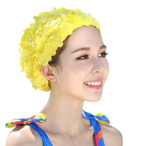 Cuffia da Bagno Donna Bohemian Hippie Chic Petalo Floreale Cappello Cuffie  da Nuoto Piscina Doccia Beanie 9ca7b63c1e16