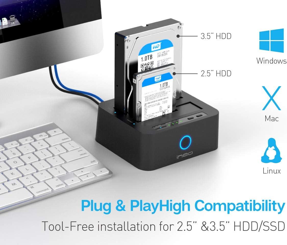 ineo USB 3.0 Offline Función de Clone Disco Duro Docking Station ...