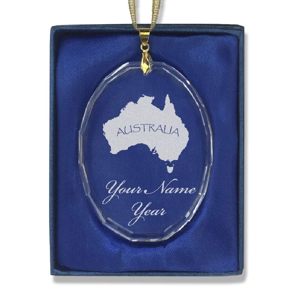 Oval Crystal Christmas Ornament - Australian Continent - Personalized Engraving Included