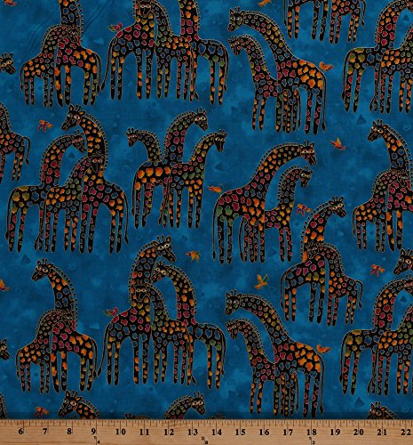 Cotton Giraffes African Animals Birds Nature Gold Metallic Shimmer Glitter on Blue Laurel Burch Mythical Jungle Dark Aqua Cotton Fabric Print by the Yard (Y2136-34MDARKAQUAMETALLIC)