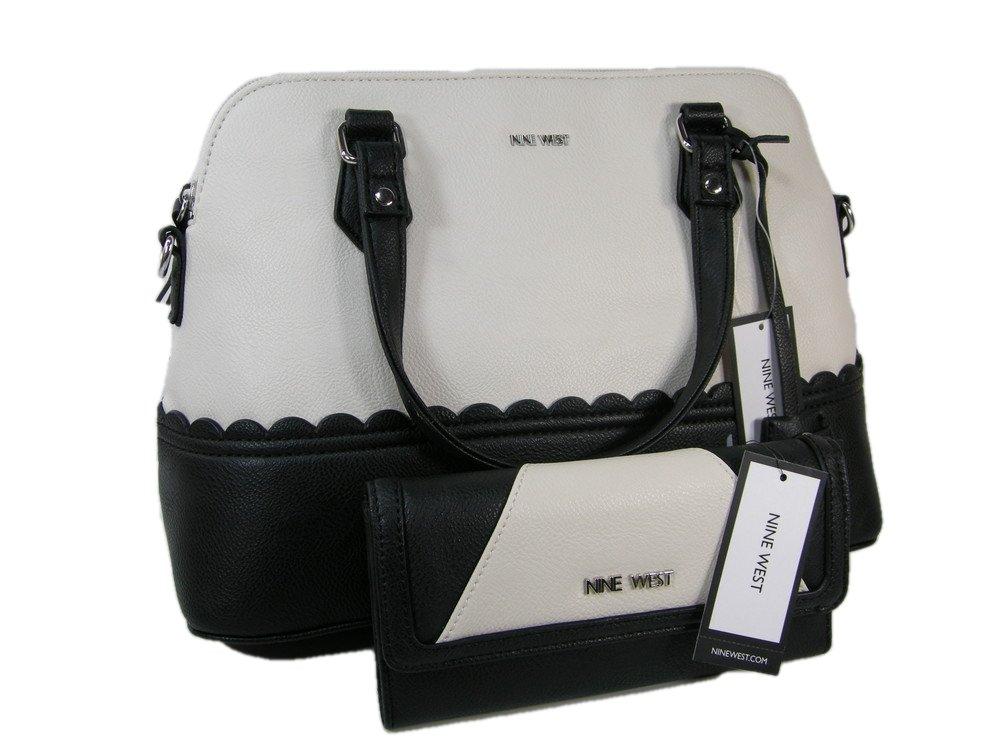 New Nine West Logo Purse Hand Bag & Coordinating Wallet 2 Piece Set Black Chalk