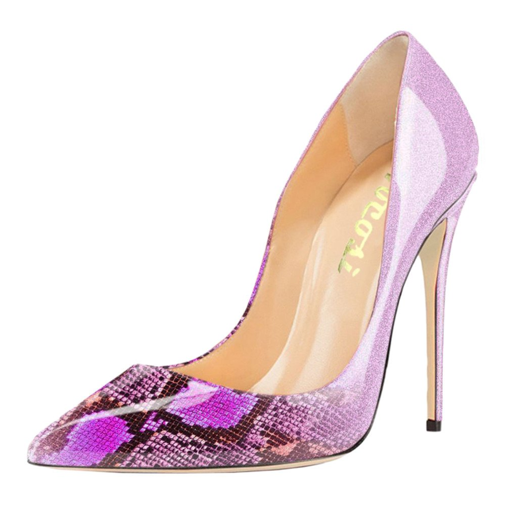 VOCOSI Pointy Toe Pumps for Women,Patent Gradient Animal Print High Heels Usual Dress Shoes B077GQN3NR 9.5 B(M) US|Gradient Rose Red to Snake Print With 12cm Heel Height