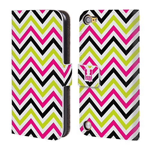 Head Case Designs Rosa E Lime Chevron Neon Cover a portafoglio in pelle per iPod Touch 5th Gen / 6th Gen