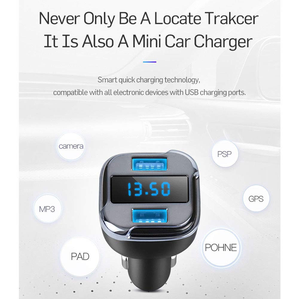 Car//Vehicle GPS Charger//Tracker GPS Real Time Tracking /& Vehicle Monitoring Locator Dual USB Charger Voltmeter Hosmide 5558995201