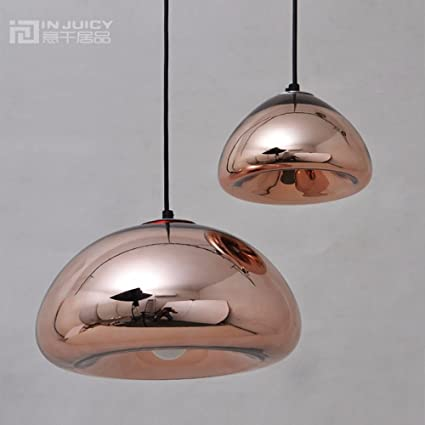 8db87d5ff403 INJUICY Tom Dixon Vintage Industrial Copper Brass Bowl Mirror Glass Pendant  Lights Shades Retro E27 Led