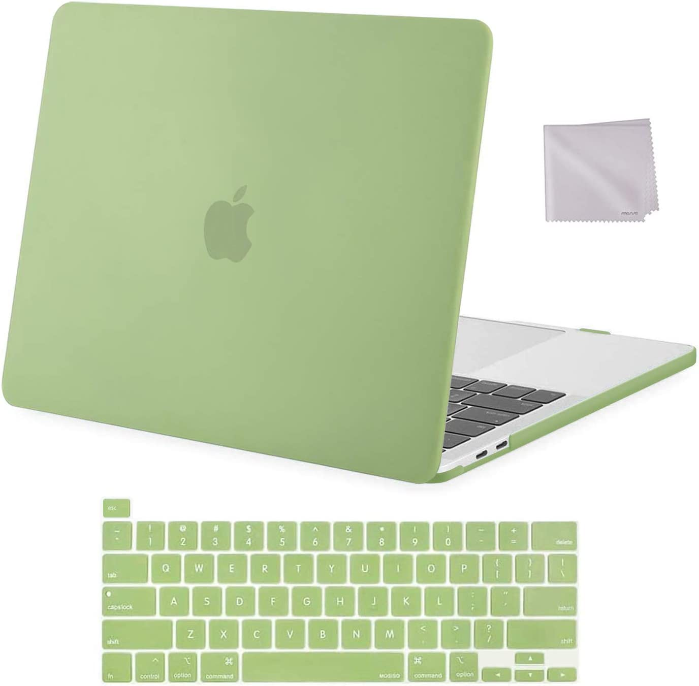 MOSISO Compatible with MacBook Pro 13 inch Case 2016-2020 Release A2338 M1 A2289 A2251 A2159 A1989 A1706 A1708, Plastic Hard Shell Case & Keyboard Cover Skin & Wipe Cloth, Avocado Green