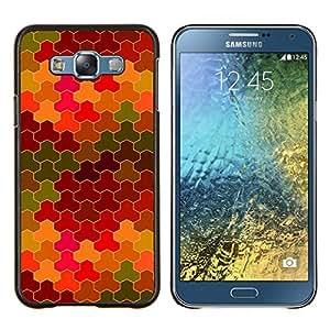 YiPhone /// Prima de resorte delgada de la cubierta del caso de Shell Armor - Patrón Azulejos púrpura del arbolado Verde Amarillo - Samsung Galaxy E7 E700